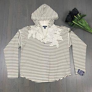 NWT CHAPS Striped Floral V-Neck Hoodie Sweatshirt